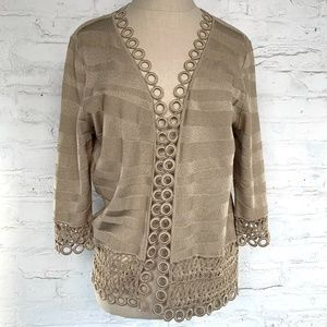 Ming Wang cardigan sweater beige knit circles loop